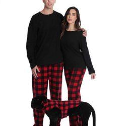 pijamas franela para parejas y perro